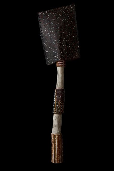 Artwork by Timothy Cook, Untitled (Tutini and Tunga), Made of natural earth pigments on carved ironwood; natural fibres and natural earth pigments on eucalyptus bark