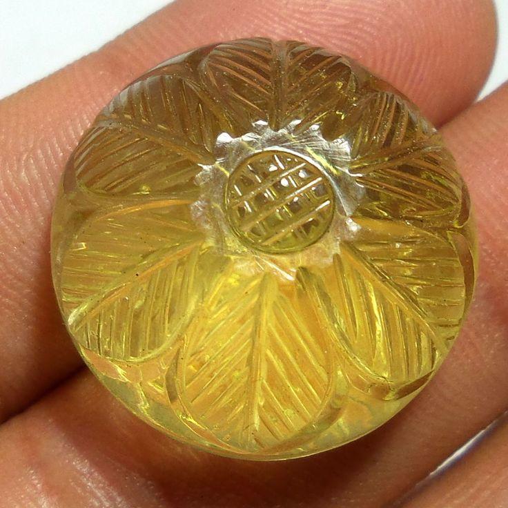 Natural Lemon Quartz Beautifully Unique 49 Cts Carved 23.5 MM Round LM3 #Unbranded