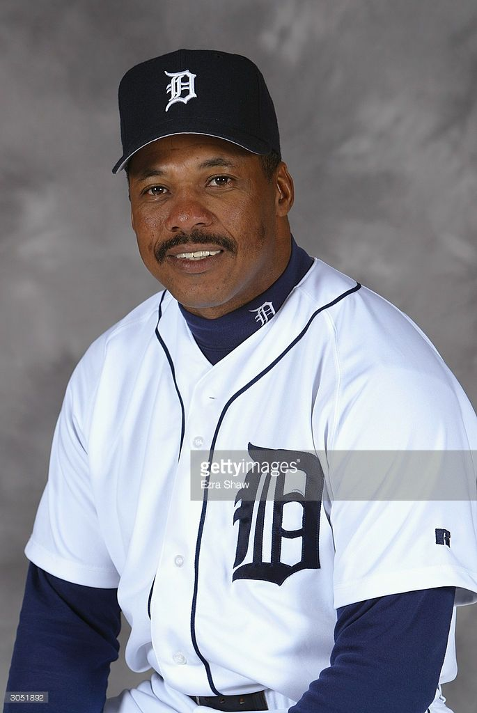 Juan Samuel #8 of the Detroit Tigers poses for portrait on February 29, 2004 at the Tigers spring training complex in Lakeland, Florida.