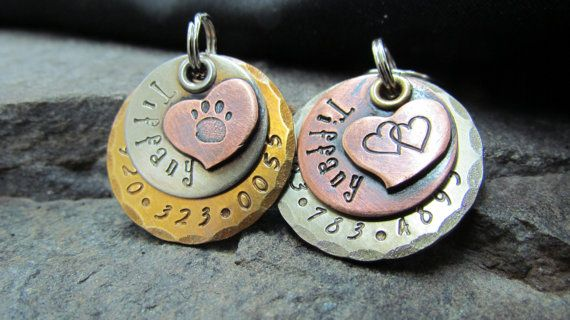Dog tag - Pet tag - Pet Id Tag- Accessories- Copper Nickel/Silver Brass with Copper Heart- Hand stamped Engraved Personalized,