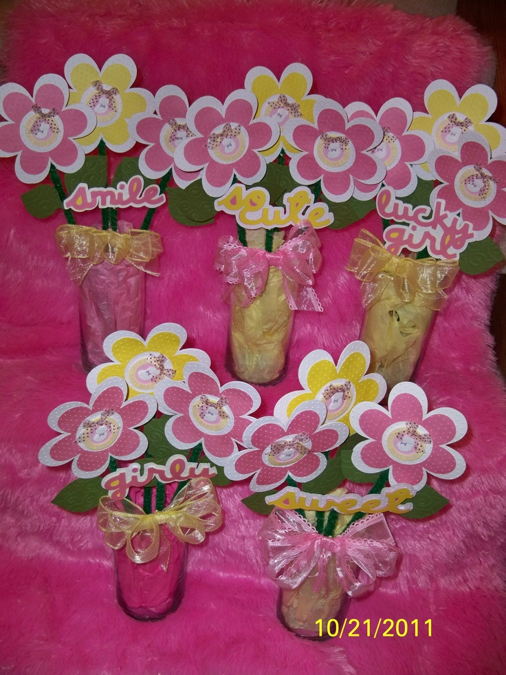 Baby Shower Decorations Using Cricut ~ Flower bouquets for baby shower centerpieces made using