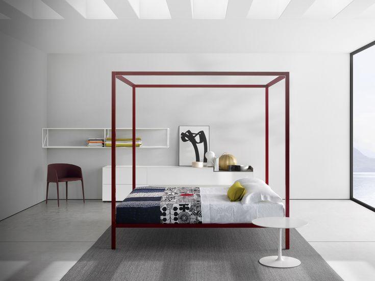Letto matrimoniale in alluminio a baldacchino ALUMINIUM BED | Letto a baldacchino - MDF Italia