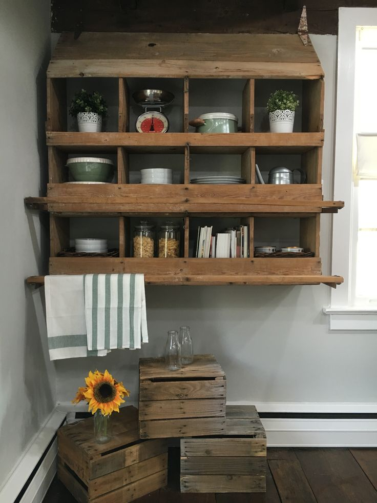 Repurposed chicken coop for kitchen shelving.  Stone House Revival - Season One.