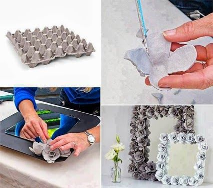 paper egg cartons are cut, fasioned into individual flowers, and applied to a plain mirror frame.....