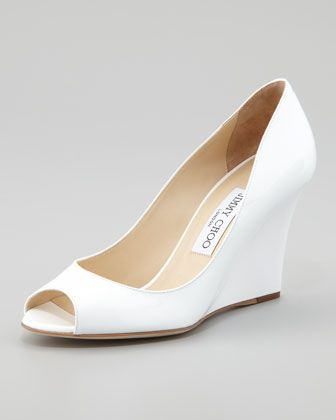 Wedding Shoe (Wedge): Baxen Peep-Toe Patent Wedge, White by Jimmy Choo at Neiman Marcus.