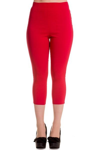 Tine Red Capri Trousers by Hell Bunny