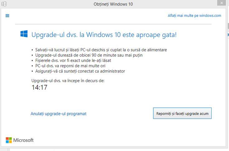 Upgrade la Windows 10: Informații de îndrumare despre programare și notificări