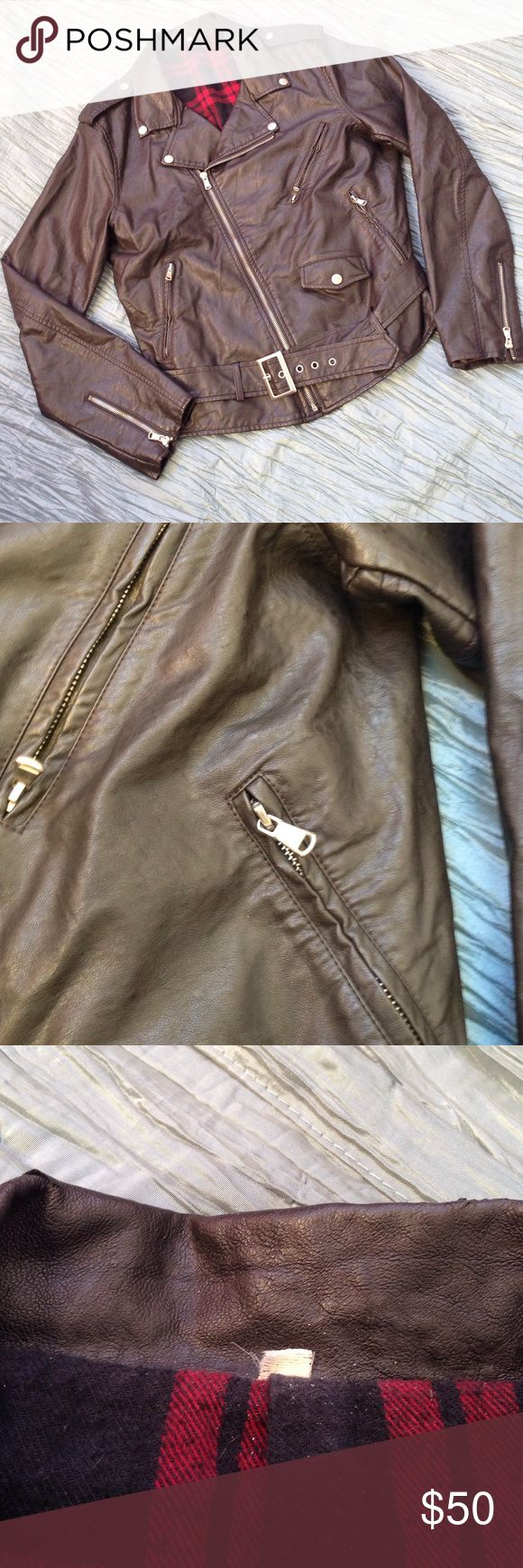 Young Men's Bomber Jacket Faux leather in awesome shape aside from tiny cracks on neck visible in pic of collar. Flannel inside. Jackets & Coats Bomber & Varsity