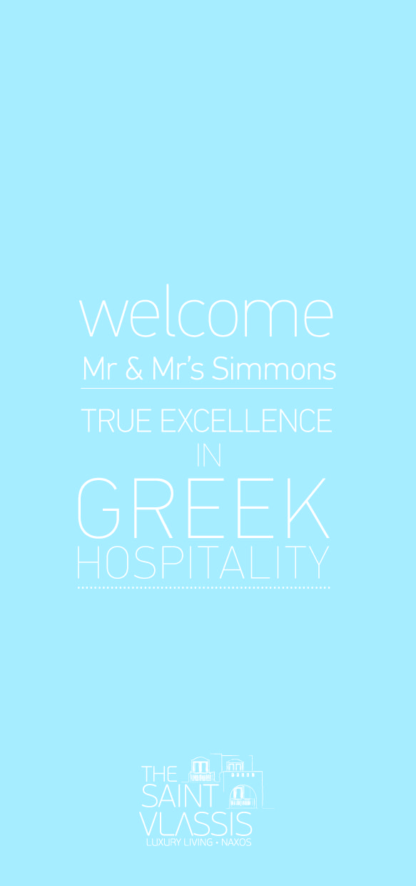 Welcome card for #SaintVlassis, boutique hotel in #Naxos #island, #Greece