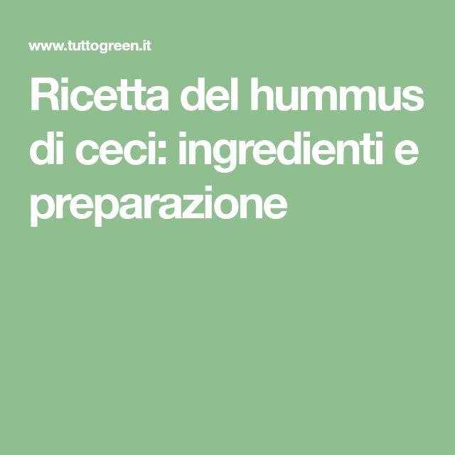 Ricetta del hummus di ceci: ingredienti e preparazione