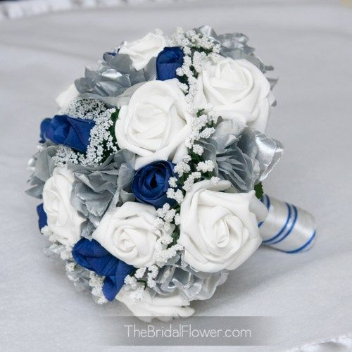 Royal blue and silver silk wedding bouquet, horizon blue bridal ...Change Silver to Champagne