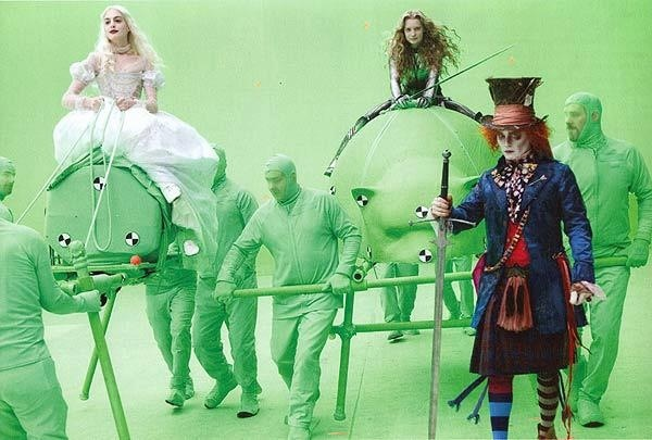 Surreal and psychedelic green screen film production of Alice in Wonderland