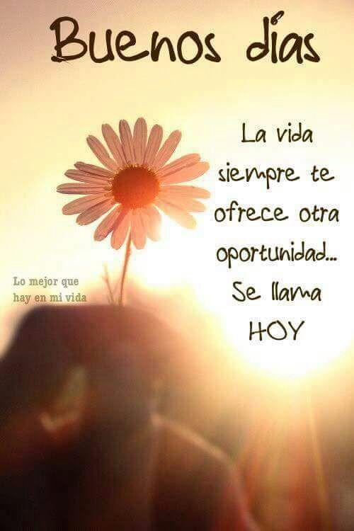 Buenos días.!! La vida siempre te ofrece otra oportunidad... Se llama HOY.