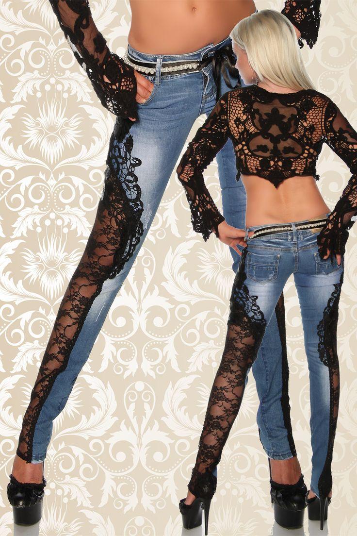 Jeanshose mit Spitze   Jeans   Hosen & Pants & Leggings   BEKLEIDUNG   FRAUEN   701 FASHION