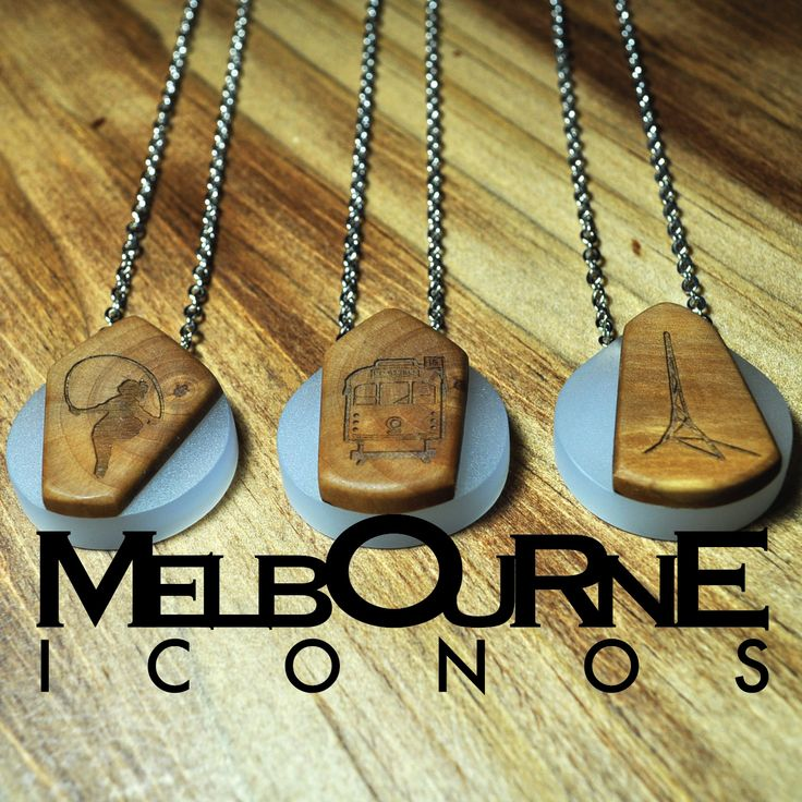 Melbourne icon pendants handcrafted and beautifully stylish. Comes with a simple chain, or use your own, to create a fun, fashionable Melbourne look! 3 icons styles available: arts centre, the skipping girl and old tram. Every piece is handmade with a laser etched image $25