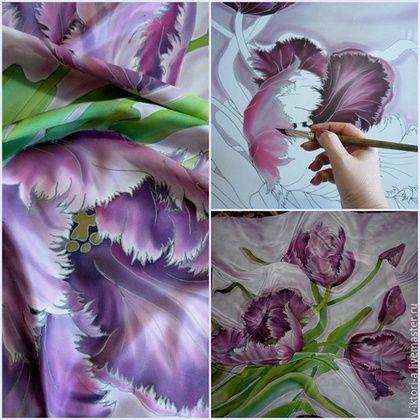 Купить или заказать Розовые тюльпаны .(платок )90-90см.Крепдешин, 100% шелк. в интернет-магазине на Ярмарке Мастеров. Нежная ткань, натуральный шелк, мягкий крепдешин с небольшим блеском . Тюльпаны выписаны очень живописно.Работа выдержана в розово-пепельном тоне. Можно носить как платок и оформить в раму как панно. Уютен в любую погоду! Обшит вручную, не линяет и не выгорает. Синие тюльпаны…