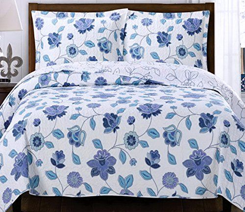 Cottage Blue Purple Floral Lightweight Quilt Coverlet And