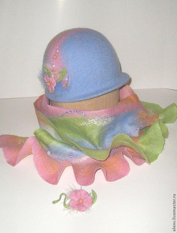 Купить Шляпка-клош Нежность для девочки - голубой, шляпка для девочки, шляпка женская, шляпка-клош