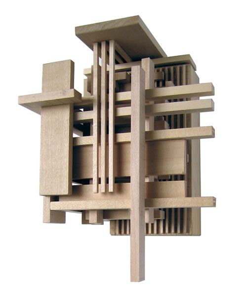 Construction 1, wood sculpture inspired by architectural models