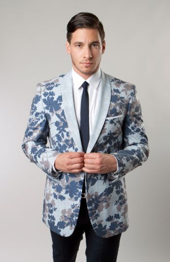 Tazio Mens Light Blue Floral Tuxedo Dinner Jacket Slim Fit M148S