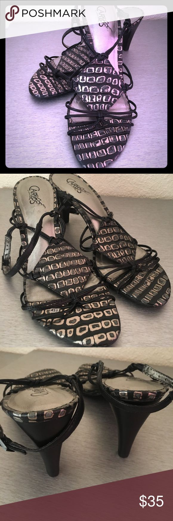"Strappy Heels Black and silver animal print Strappy pumps. Heel is 3"". Size 7.5. By Carlos Santana Carlos Santana Shoes Heels"