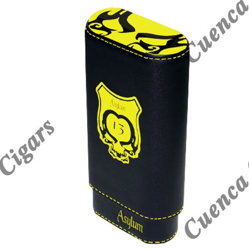 Shop Now Asylum 13 Super Size Leather Cigar Case - Yellow and Black | Cuenca Cigars  Sales Price:  $44.99