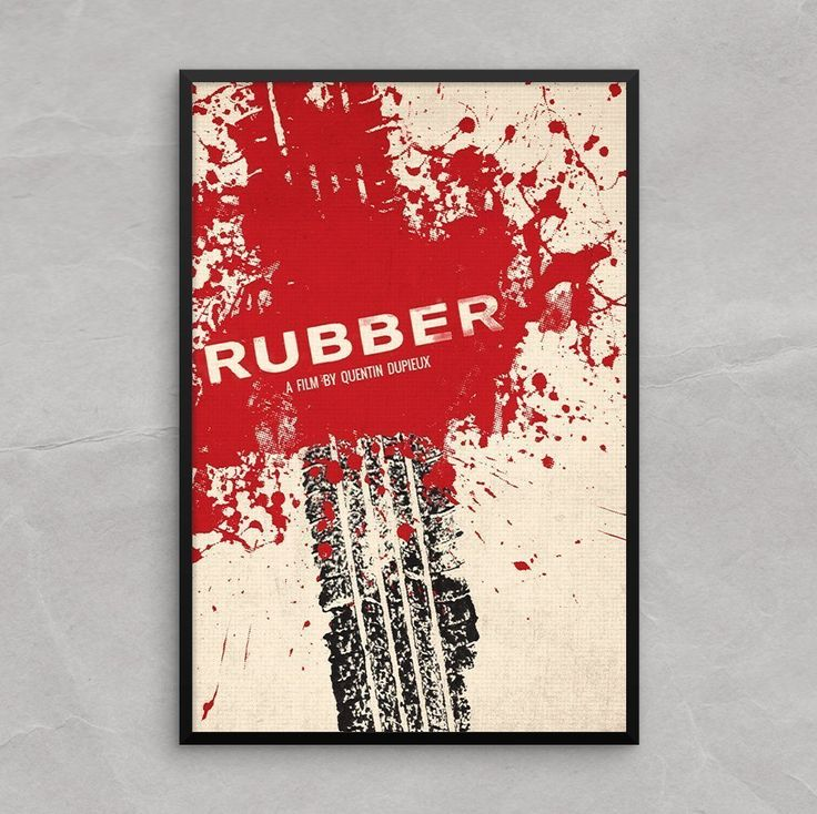 Rubber Movie Poster Art Print [13x19] film by a Quentin Dupieux. Rubber, an instant cult classic movie by director Quentin Dupieux. The cult horror classic Inspired this tire tread, blood splattered movie poster design, This print would look great in any setting. A living room, foyer, gallery wall, bedroom.