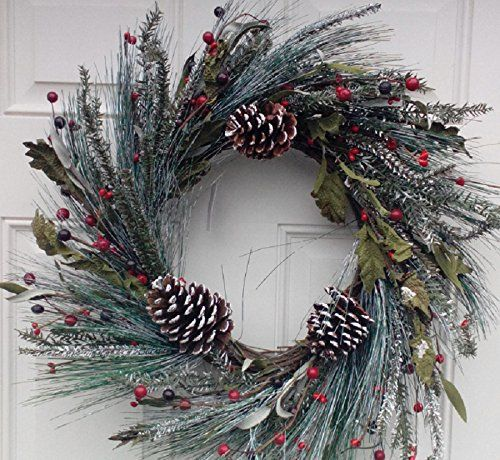 Wreaths For Door - Snowy Morning Winter Door Wreath Handcrafted Assorted Flocked Holiday Greens White Tipped Pine Cones And Red Berries Display This Christmas Wreath The Entire Winter Season, $65.99 (http://www.wreathsfordoor.com/snowy-morning-winter-door-wreath-handcrafted-assorted-flocked-holiday-greens-white-tipped-pine-cones-and-red-berries-display-this-christmas-wreath-the-entire-winter-season/)