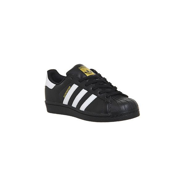 Adidas Superstar Black White Foundation ($62) ❤ liked on Polyvore featuring shoes, white black shoes, adidas, white and black shoes, black and white shoes and black white shoes