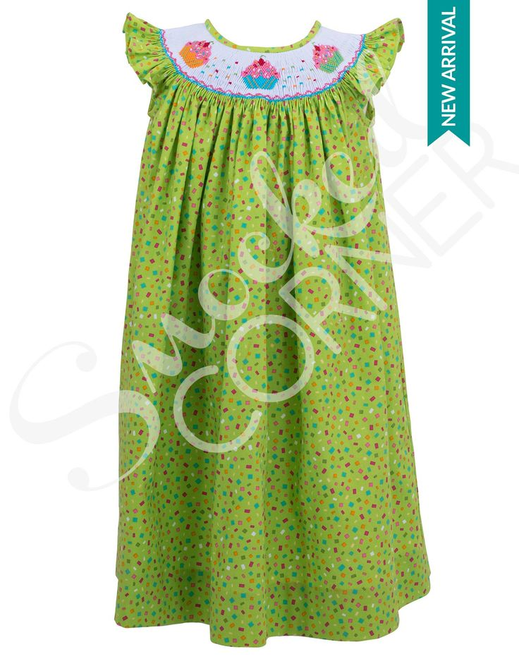 Smocked Cupcakes Dress Green Confetti Fabric