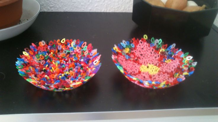 Bead bowls. plastic beads on oil in a bowl, put in the oven, then the beads almost melts together, and i could take them out of the bowl, and they were a bowl themselves. -Louise Mirabilis