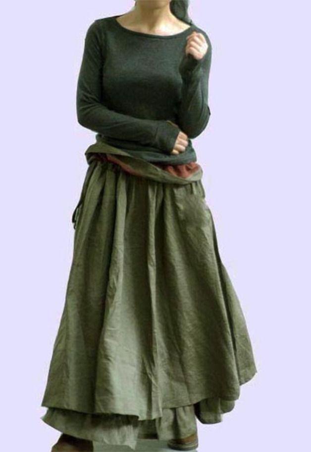 Maxi gonne - Big lino gonna svasatura - verde militare - un prodotto unico di buuki su DaWanda