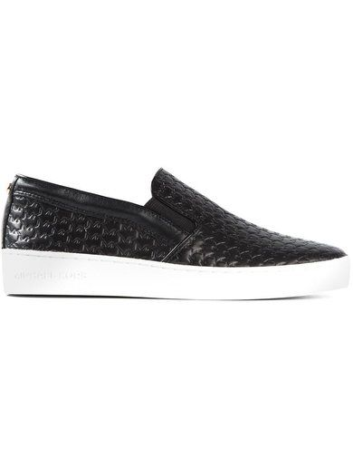 'Black leather embossed trainers from Michael Michael Kors.'