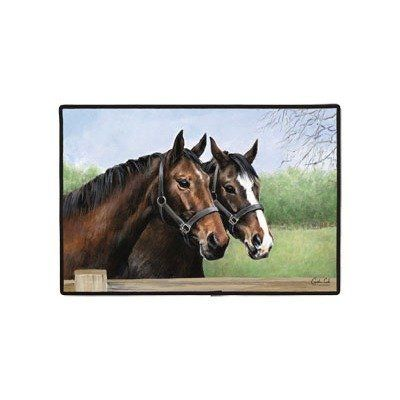 Fiddler's Elbow Caroline's Horses Doormat by Fiddler's Elbow. $21.00. Permanently dye printed & fade resistant.. Caroline's Horses Doormat.. 100% Polyester face.. Non-skid rubber backing.. Durable polypropylene web trim.. FED310 Features: -For indoor and outdoor.-Original copyrighted artwork by Caroline Cook.-Non-skid rubber backing.-Durable polypropylene web trim.-Hand wash, hose off and air dry.-Permanently dye printed and fade resistant.-Made in the USA.