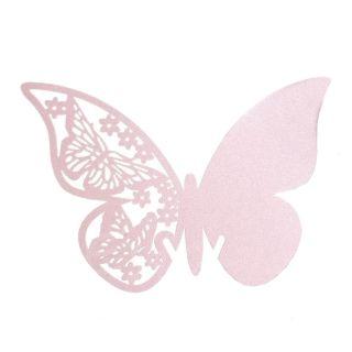 Bordkort lyserøde sommerfugle med flotte mønster til glas. Lyserøde bordkort til barnedåb, konfirmation, bryllup og fødselsdag.