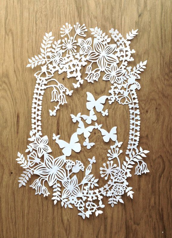 Papercut TEMPLATE 'Spring Garland' Papercutting by TommyandTillyDesign