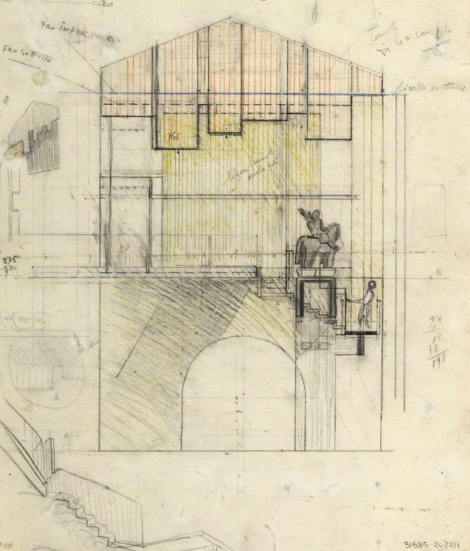Sezione trasversale dell'area di esposizione della statua di Cangrande in corrispondenza della passerella obliqua