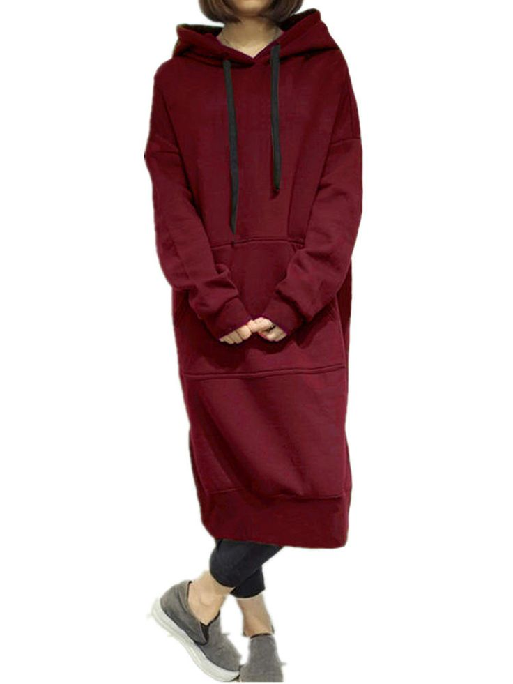 7 Colors Casual Women Solid Color Long Sleeve Pocket Hooded Sweatshirt Dress at Banggood