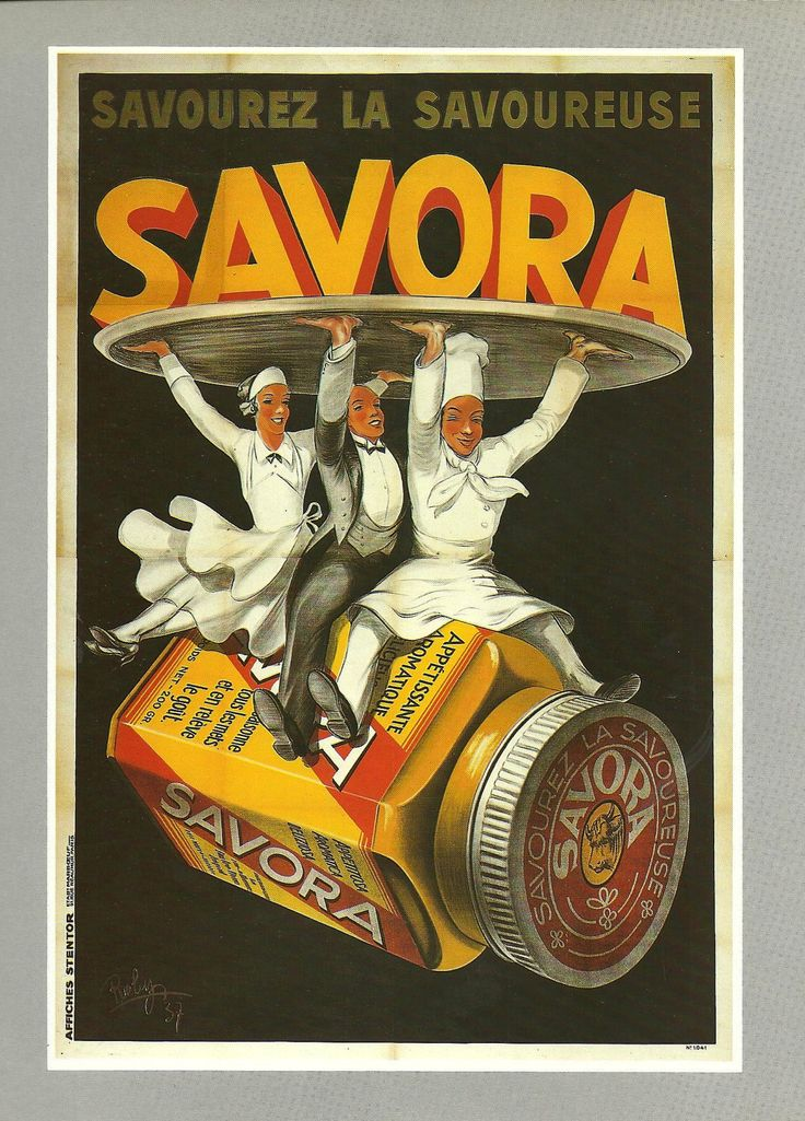FOOD - Vintage French color advertisement poster - cook, waiter 1920s. $9.00, via Etsy.