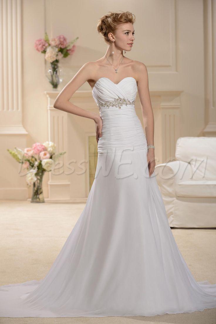 $133.29 Dresswe.comサプライ品ラインのウェディングドレスを掃くプリティ恋人