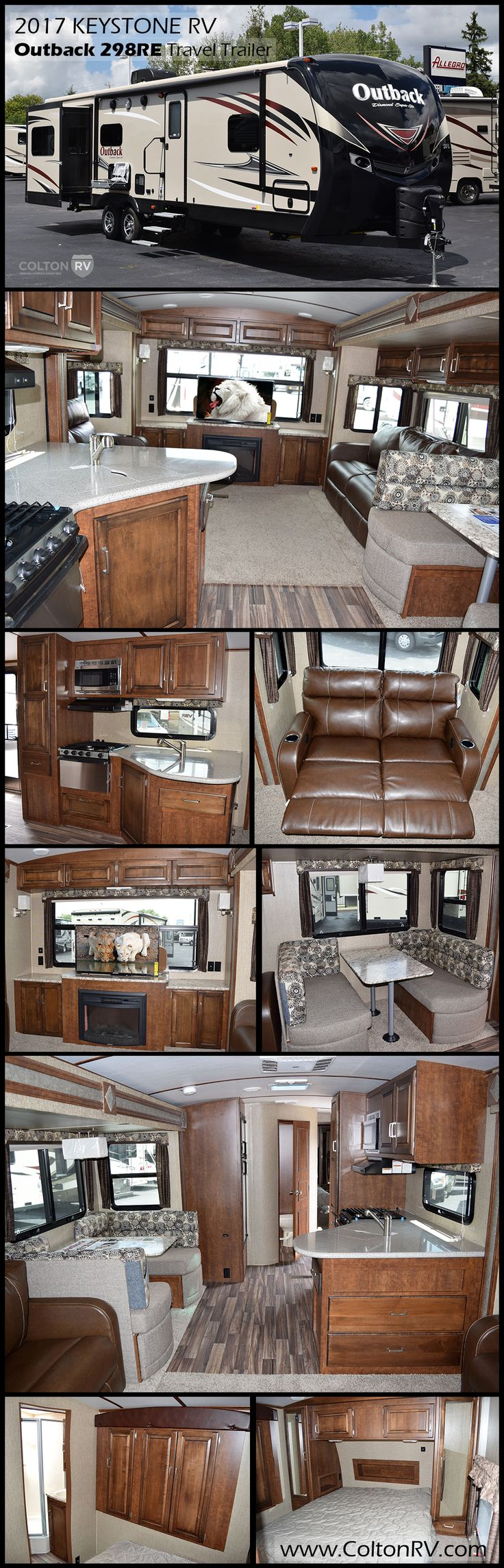The KEYSTONE RV OUTBACK DIAMOND SUPER LITE 298RE Travel Trailer offers a spacious retreat while you camp. The Outback takes comfort and style to a whole new level. Vaulted ceilings and upgraded furniture provide a roominess and sophistication unseen in other light weight trailers. This one features a rear entertainment area with loads of space because of dual opposing slides in the living area.