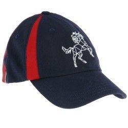 casquette equitation fouganza enfant marine et rouge