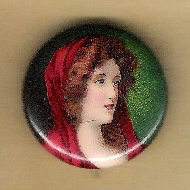 "Vintage Advertising Pinback Button Pin 1900's Cigarette Ad ""Pretty Lady"" Premium"
