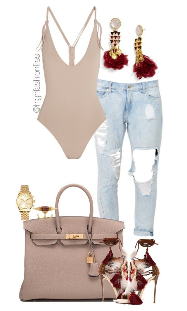 """""""Untitled #2751"""" by highfashionfiles ❤ liked on Polyvore featuring Tory Burch, Eres, Hermès, Dsquared2, Michael Kors and Alexander McQueen"""