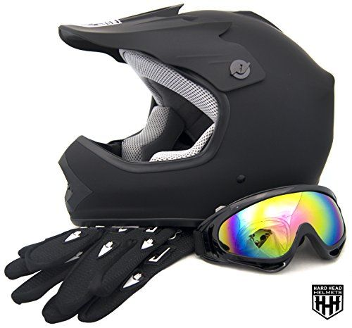 HHH DOT Youth & Kids Helmet for Dirtbike ATV Motocross MX Offroad Motorcyle Street bike Matte Black, Black Camo, Black Flame + WITH FREE GLOVES AND GOOGLES (Medium, Matte Black)  Please measure for size. Each manufacturers sizing is different. SIZE CHART (Circumference of the largest part of the child's head, usually just above the eyebrows) in inches: Youth Small: 19.2 to 19.7 to, Youth Medium: 20.1 to 20.5, Youth Large: 20.9 to 21.5, Head shapes can affect how a helmet fits. The size...