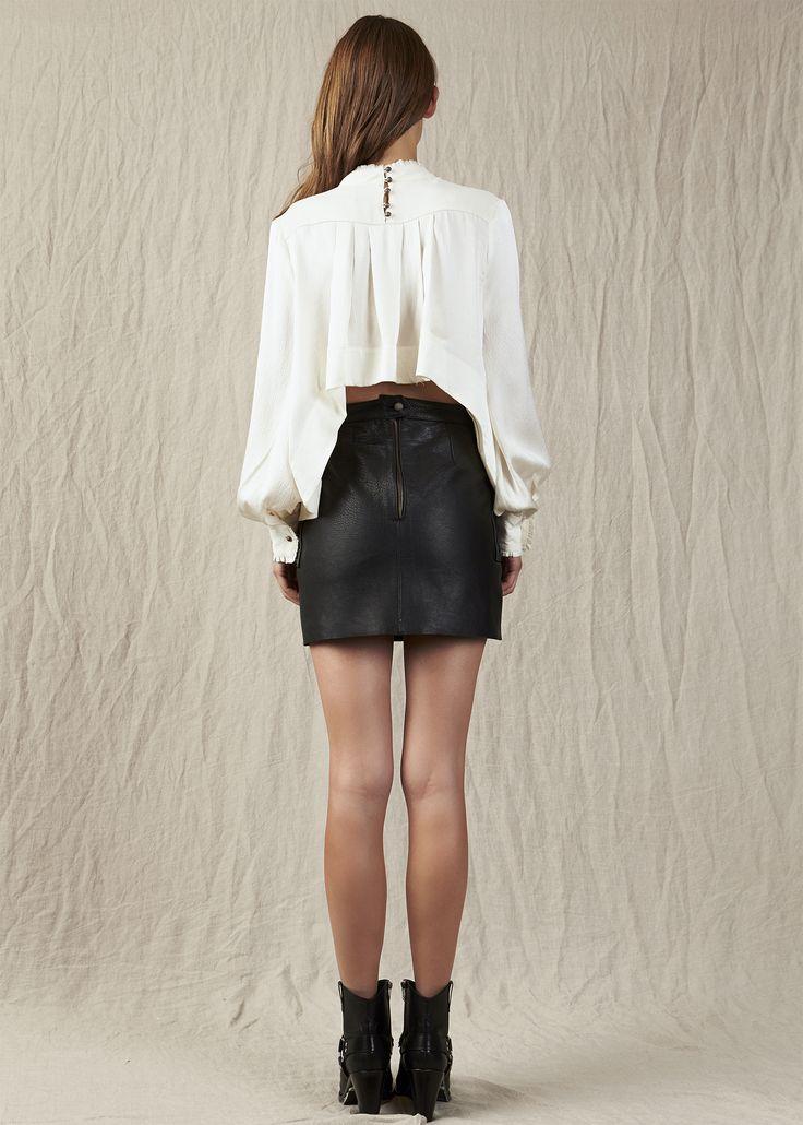 White silky long sleeve short back long front mini black leather skirt. Model - Charlotte @ IMG Beauty - Isabella Schimid @ Union Management Photographer - John Rintoul. #AjeTheLabel #Aje #Fashion #Style #LookBook #AW17 #Autumn #Winter #2017 #AustralianFashion #Designer