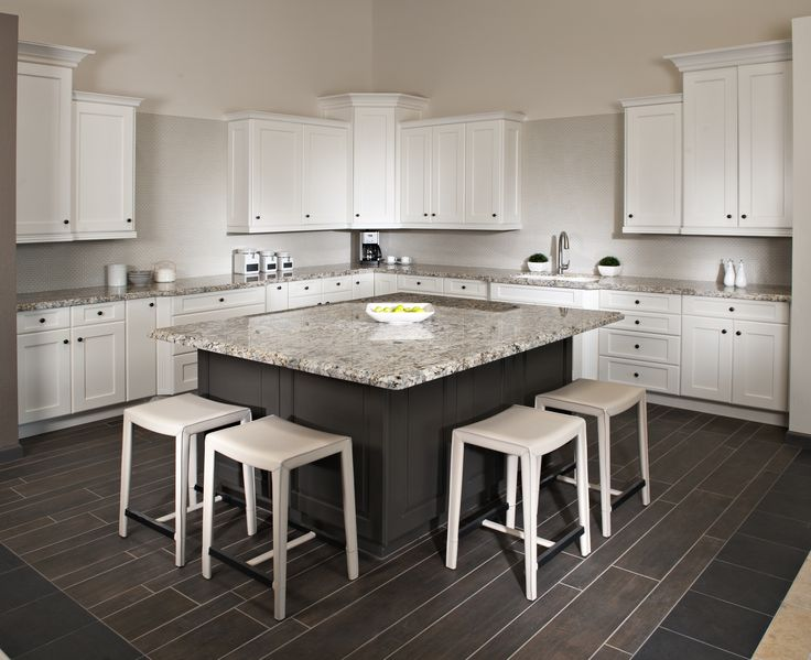 This Kitchenu0027s White Cabinetry And Blue Flower Granite Island Produces A  Beautiful Contemporary Contrast.