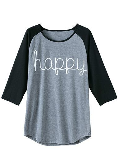 Black and Grey 3/4 Sleeve Raglan Tee For Women