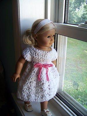 Lacy Shell doll dress, American girl doll, crochet pattern