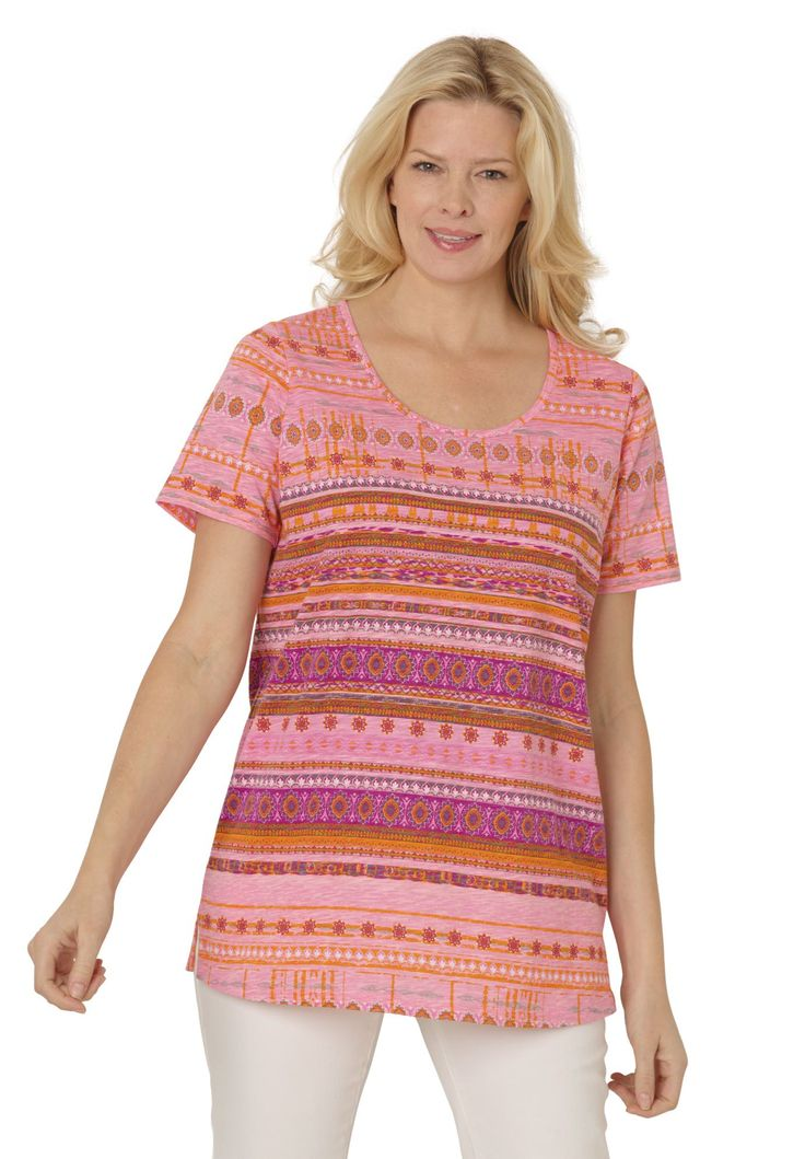 Scoop neck printed tee Plus Size Fashion from Woman Within.